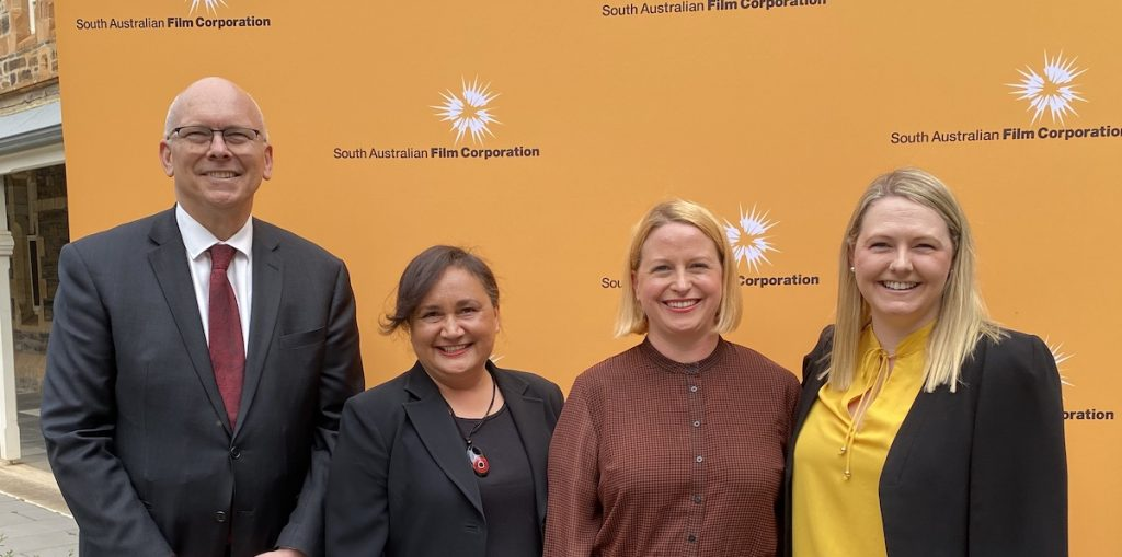 David Pisoni MP, SAFC First Nations Screen Strategy Executive Lee-Ann Tjunypa Buckskin, SAFC CEO Kate Croser and C44 General Manager Lauren Hillman at the launch of SAFC's First Nations Screen Strategy 2020-2025 and partnership with C44